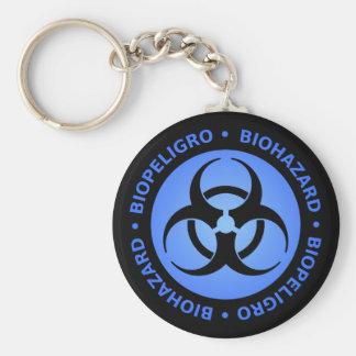 Black Blue Bilingual Biohazard Symbol Keychain