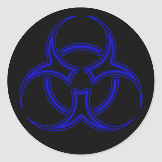 Black Blue Biohazard Symbol Sticker