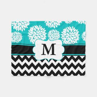 Black Blue Blooms Chevron Monogram Fleece Blanket
