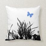 Black & Blue Butterfly Throw Pillows