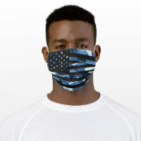 Black Blue Camouflage Camo American USA Flag Cloth Face Mask