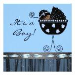 Black Blue Carriage Black Blue Baby Boy Shower Announcement
