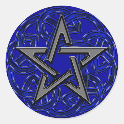 Black & Blue Celtic Pentagram Sticker