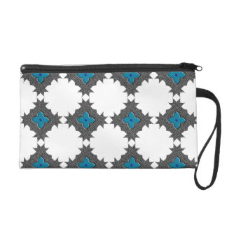 Black Blue Classy Diamond Bagettes Wristlet Bag