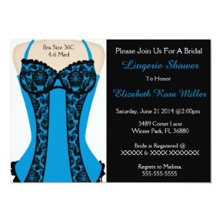 "Black & Blue Corset Lingerie Shower Invite 5"" X 7"" Invitation Card"