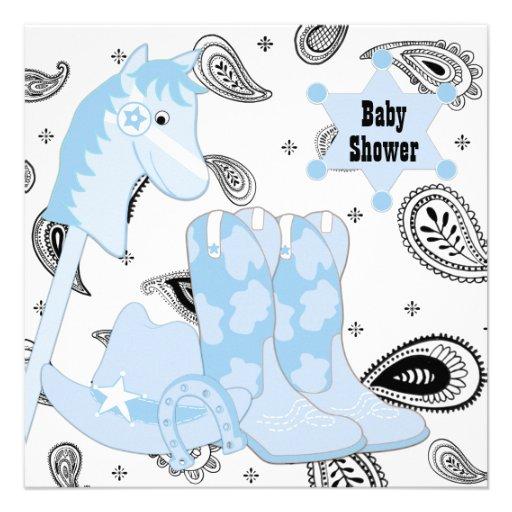 black blue cowboy baby shower square paper invitation card