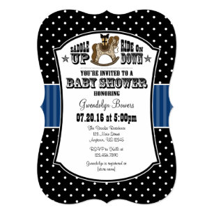 Black Blue Cowboy Baby Shower Invitation