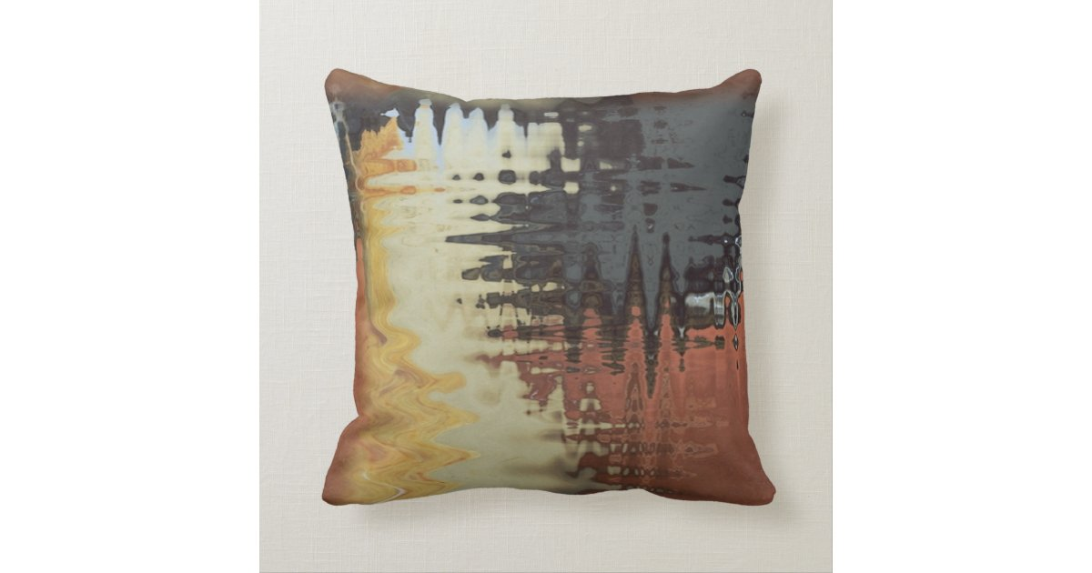 black blue cream yellow and rust mixture throw pillow