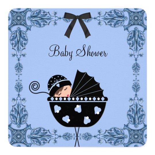 Black Blue Damask Baby Boy Shower Card
