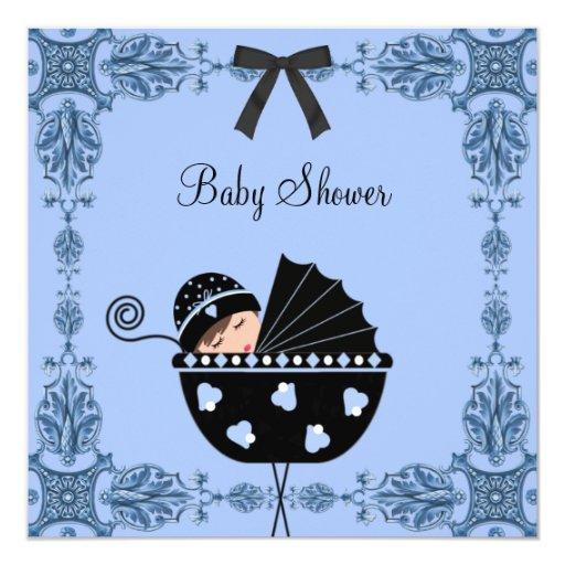 Black Blue Damask Baby Boy Shower Personalized Invitation
