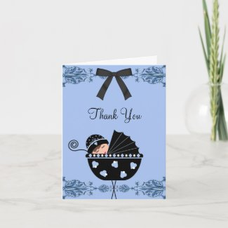 Black Blue Damask Baby Shower Thank You Cards card