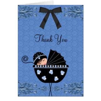Black Blue Damask Baby Shower Thank You Cards