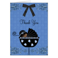 Black Blue Damask Baby Shower Thank You Cards