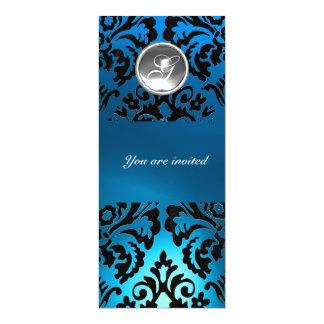 BLACK & BLUE DAMASK GEM STONE MONOGRAM white Card