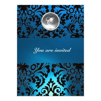 BLACK & BLUE DAMASK GEM STONE MONOGRAM white Card