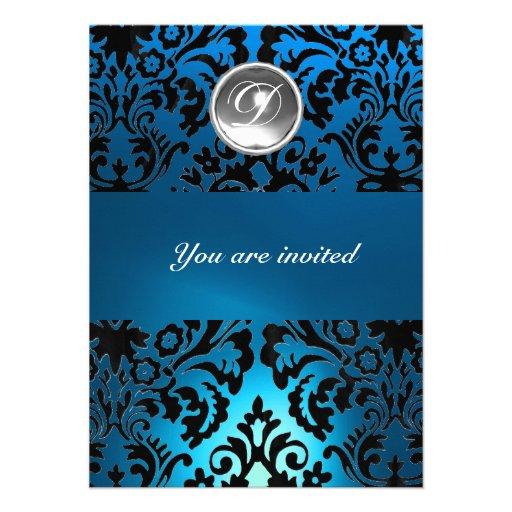 BLACK & BLUE DAMASK GEM STONE MONOGRAM white Custom Invitations
