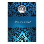 BLACK & BLUE DAMASK GEM STONE MONOGRAM white 4.5x6.25 Paper Invitation Card