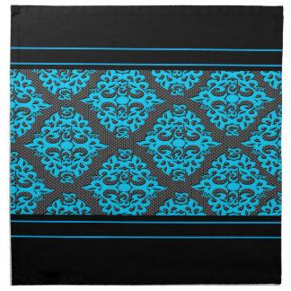 Black Blue Damask Napkin