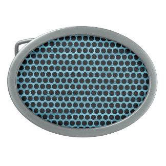 Black Blue Dots Oval Buckle Belt Buckle