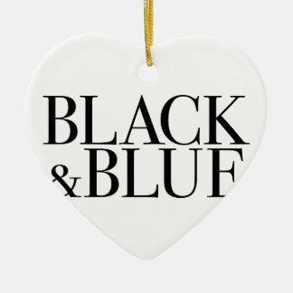 Black & Blue Double-Sided Heart Ceramic Christmas Ornament