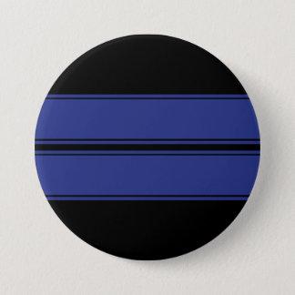 Black Blue Dual Race Stripes Metal Button