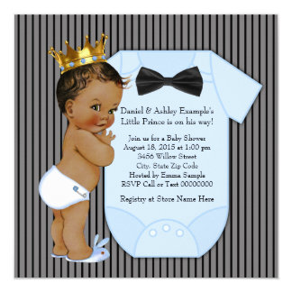 Black Blue Ethnic Prince Baby Shower Gold Crown Card