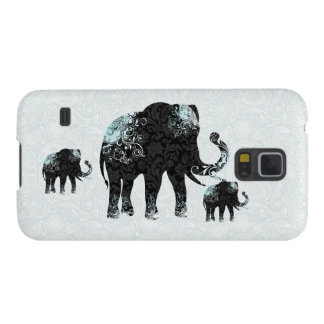 Black & Blue Floral Elephant Galaxy S5 Cover