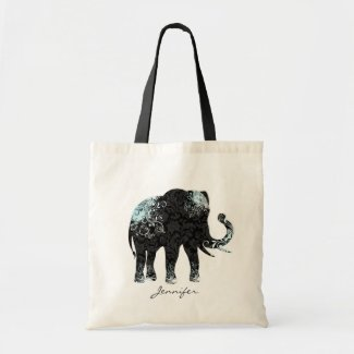Black & Blue Floral Elephant
