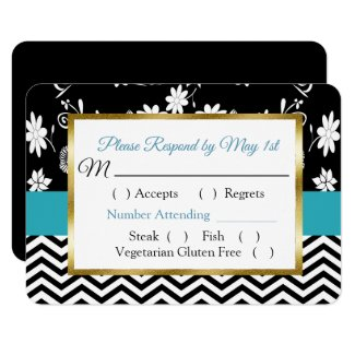 Black & Blue Floral Hearts Wedding RSVP card