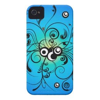 black blue floral swirls iphone 4 case-mate cases