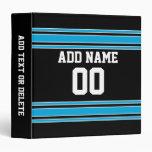 Black Blue Football Jersey Custom Name Number 3 Ring Binder