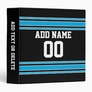 Black Blue Football Jersey Custom Name Number Binder