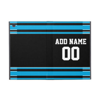 Black Blue Football Jersey Custom Name Number Cases For iPad Mini
