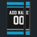 "Black Blue Football Jersey Custom Name Number iPad Mini Case<br><div class=""desc"">Add your name and number -- This sports design is perfect for any sports or high school player. You can even claim these for your Fantasy Football team. Click on the CUSTOMIZE button to make even more changes.</div>"