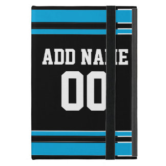 Black Blue Football Jersey Custom Name Number iPad Mini Case