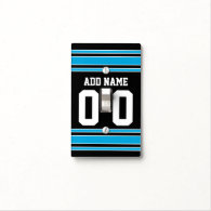 Black Blue Football Jersey Custom Name Number Light Switch Covers