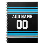 Black Blue Football Jersey Custom Name Number Notebook