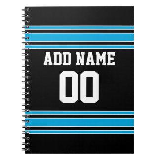 Black Blue Football Jersey Custom Name Number Notebook