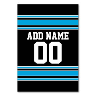 Black Blue Football Jersey Custom Name Number Table Card
