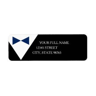 Black & Blue Formal Tux Return Address Labels
