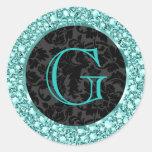 Black & Blue-G Sparkling Diamonds Glitter-Monogram Round Stickers