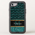 Black & Blue Glitter Chevron Personalized Defender Otterbox Defender Iphone 7 Case at Zazzle