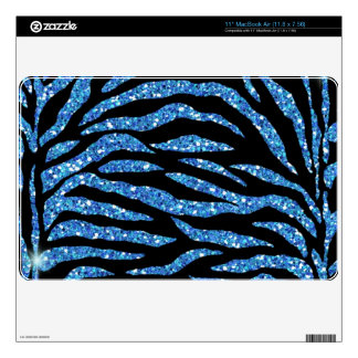 Black & Blue Glitter Zebra Print Mac Air Skin Decal For The MacBook Air