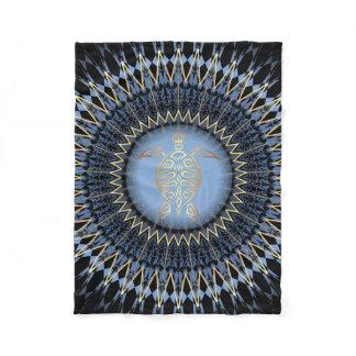 Black Blue Gold Mandala Turtle Fleece Blanket