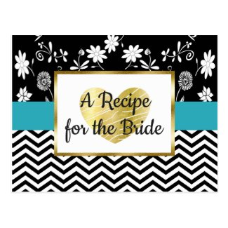 Black, Blue Gold Stripe Floral Wedding Recipe Card