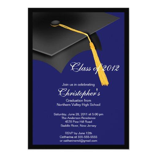 Black Blue Grad Cap Graduation Party Invitation