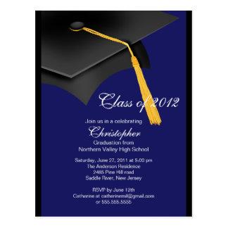 Black Blue Grad Cap Graduation Party Invitation Postcard