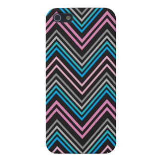 Black Blue Gray and Pink Chevron Pattern iphone 5 Cover For iPhone SE/5/5s