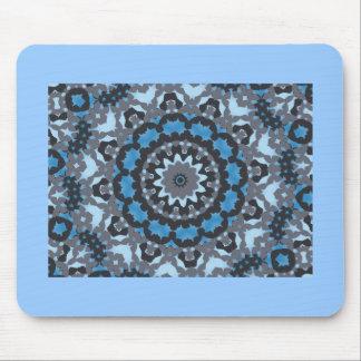 Black, blue & gray fractal pattern design mouse pad