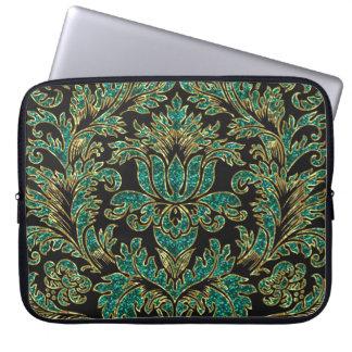 Black Blue-Green & Gold Vintage Floral Damasks Computer Sleeve